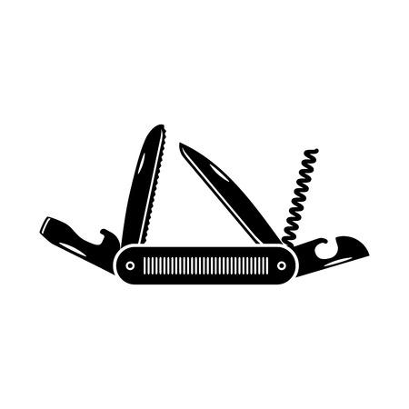 Multifunctioneel zakmes icoon. Wandelen en kampeeruitrusting gereedschap, vector illustratie geïsoleerd op wit. Stock Illustratie