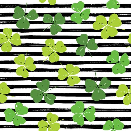 Clover leaf hand drawn doodle seamless pattern vector illustration. St Patricks Day symbol, Irish lucky shamrock background.