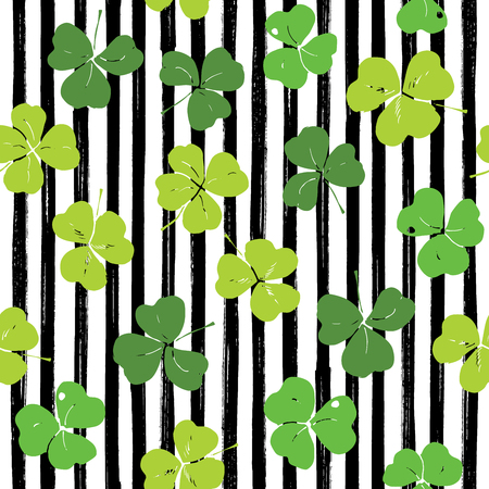 Clover leaf hand drawn doodle seamless pattern vector illustration. St Patricks Day symbol, Irish lucky shamrock background. Illustration