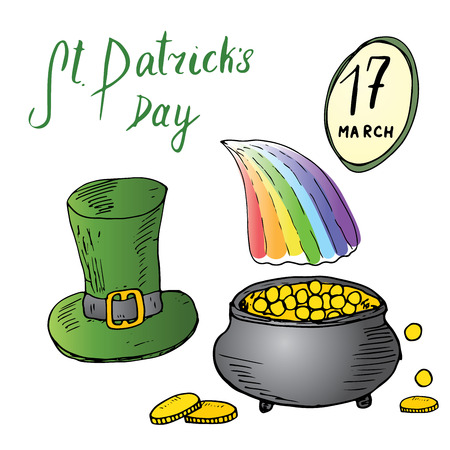 St Patricks Day hand drawn doodle set, with Irish traditional green leprechaun hat and a pot of gold coins at the end of rainbow, vector illustration isolated on white