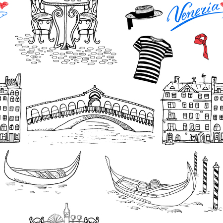 Venice Italy seamless pattern. Hand drawn sketch with gondolas, gondolier clothes, houses, market bridge and cafe table with chairs. Doodle drawing isolated on white