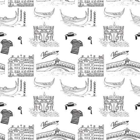 cafe table: Venice Italy seamless pattern. Hand drawn sketch with gondolas, gondolier clothes, houses, market bridge and cafe table with chairs. Doodle drawing isolated on white
