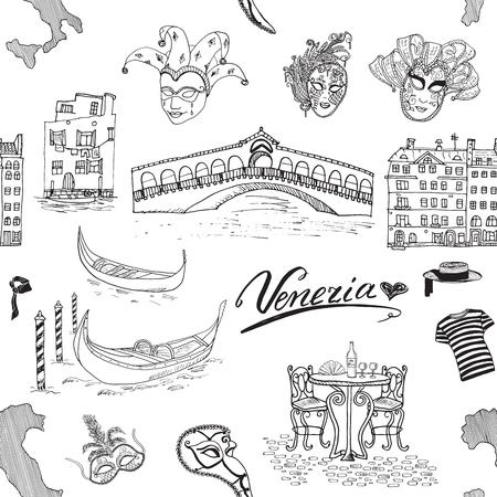 Venedig Italien nahtlose Muster. Hand gezeichnete Skizze mit Karte von Italien, Gondeln, Gondoliere Kleidung, Karneval venezianischen Masken, Häuser, Marktbrücke, Café-Tisch und Stühlen. Doodle Zeichnung auf weißem isoliert Vektorgrafik