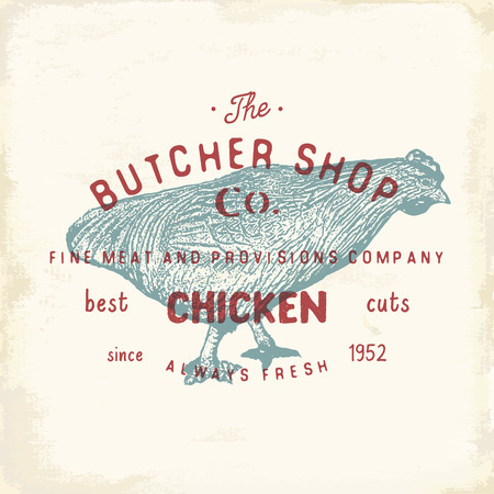 chuck: Butcher Shop vintage emblem, chiken meat products, butchery Logo template retro style. Vintage Design for Logotype, Label, Badge and brand design. vector illustration
