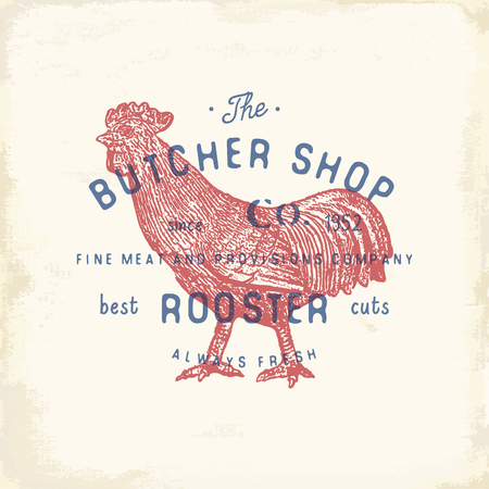 chuck: Butcher Shop vintage emblem rooster meat products, butchery Logo template retro style. Vintage Design for Logotype, Label, Badge and brand design. vector illustration.