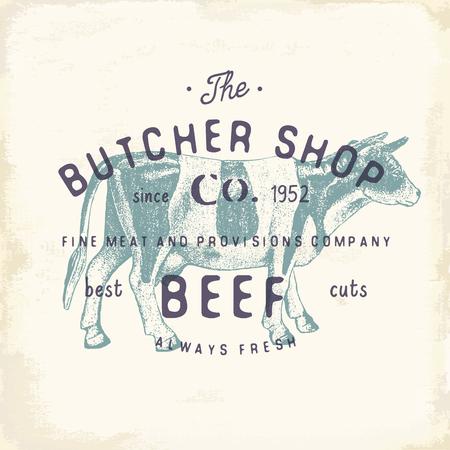 정육점 빈티지 엠 블 럼 쇠고기 육류 제품, 도살 로고 템플릿 복고 스타일입니다. 로고 디자인, 레이블, 배지 및 브랜드 디자인에 대 한 빈티지 디자인.