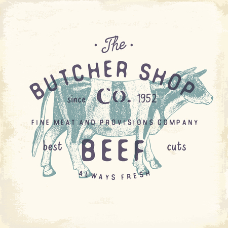Butcher Shop vintage embleem rundvlees producten, slagerij Logo sjabloon retro stijl. Vintage Design for Logotype, Label, Badge en brand design. vector illustratie.