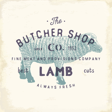 chuck: Butcher Shop vintage emblem lamb meat products, butchery Logo template retro style. Vintage Design for Logotype, Label, Badge and brand design. vector illustration