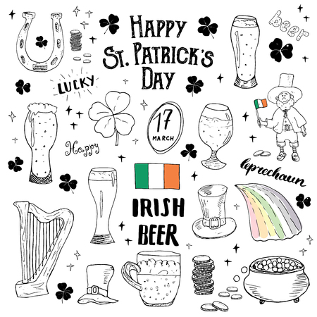 four fourleaf: St Patricks Day hand drawn doodle set, with leprechaun, pot of gold coins, rainbow, beer, four leaf clover, horseshoe, celtic harp and flag of Ireland illustration isolated on white. Illustration