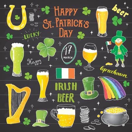 fourleaf: St Patricks Day hand drawn doodle set, with leprechaun, pot of gold coins, rainbow, beer, four leaf clover, horseshoe, celtic harp and flag of Ireland illustration on chalkboard background.