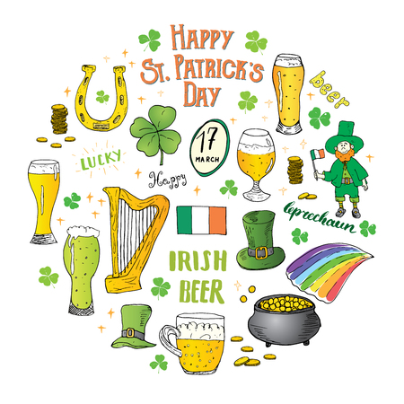 St Patricks Day hand drawn doodle set, with leprechaun, pot of gold coins, rainbow, beer, four leaf clover, horseshoe, celtic harp and flag of Ireland illustration isolated on white. Illustration
