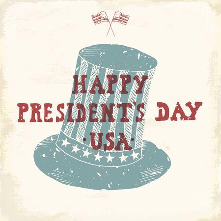 ビンテージ ラベル、手描きアメリカン シリンダー帽子、ハッピー大統領の日グリーティング カード、グランジ テクスチャ レトロなバッジ、タイポ