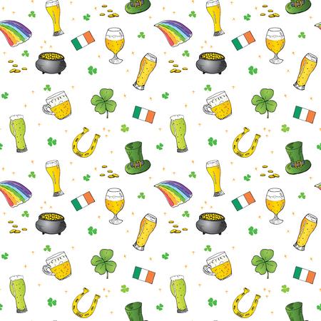 聖パトリックの日手描き落書きレプラコーン帽子、金貨、虹、ビール、4 つ葉のクローバー、馬蹄、ケルト族のハープのポットのシームレス パター