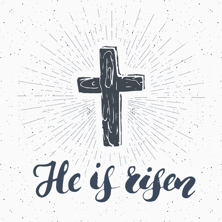 ビンテージ ラベル、彼はライゼンは宗教記号文字、十字架シンボル グランジ テクスチャ レトロなバッジ、タイポグラフィーと手描きのキリスト教