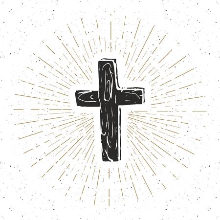 burial: Vintage label, Hand drawn Christian cross, religious sign, crucifix symbol grunge textured retro badge, typography design t-shirt print, vector illustration