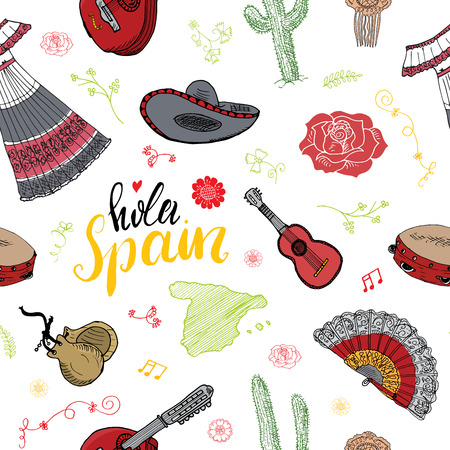 hola: Spain seamless pattern doodle elements, Hand drawn sketch spanish traditional guitars, dress and music instruments, map of spain and lettering - hola spain. vector illustration.