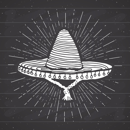 traje mexicano: Vintage label, Hand drawn sombrero mexican traditional hat sketch, grunge textured retro badge, emblem design, typography t-shirt print, vector illustration on chalkboard background.