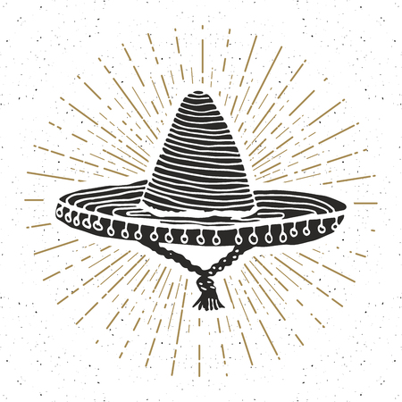 Vintage label, Hand drawn sombrero mexican traditional hat sketch, grunge textured retro badge, emblem design, typography t-shirt print, vector illustration.