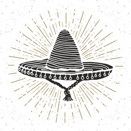 traje mexicano: Vintage label, Hand drawn sombrero mexican traditional hat sketch, grunge textured retro badge, emblem design, typography t-shirt print, vector illustration.