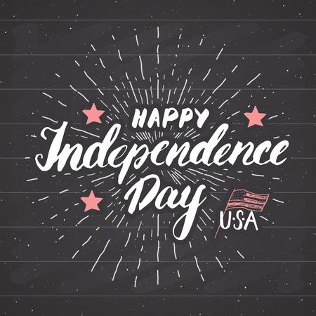 Happy Independence Day Vintage USA wenskaart, viering van de Verenigde Staten van Amerika. Hand het van letters voorzien, de Amerikaanse vectorillustratie van het vakantie grunge geweven retro ontwerp op bord