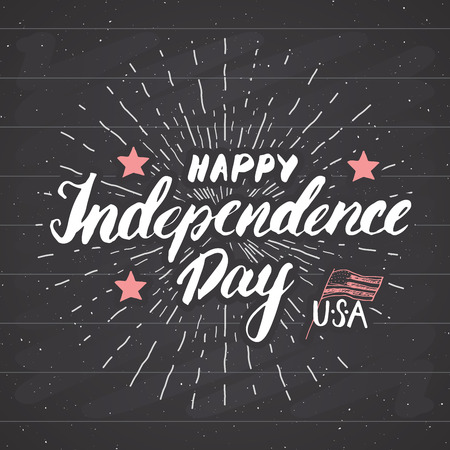 Happy Independence Day Vintage USA greeting card, United States of America celebration. Hand lettering, american holiday grunge textured retro design vector illustration on chalkboard