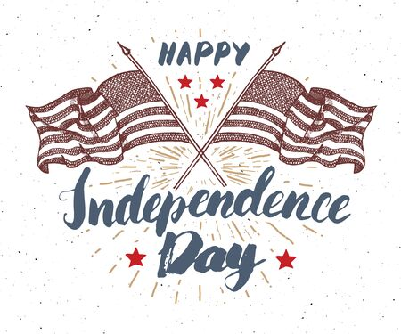 Happy Independence Day, fourth of july, Vintage greeting card wirh USA flags, United States of America celebration. Hand lettering, american holiday grunge textured retro design vector illustration