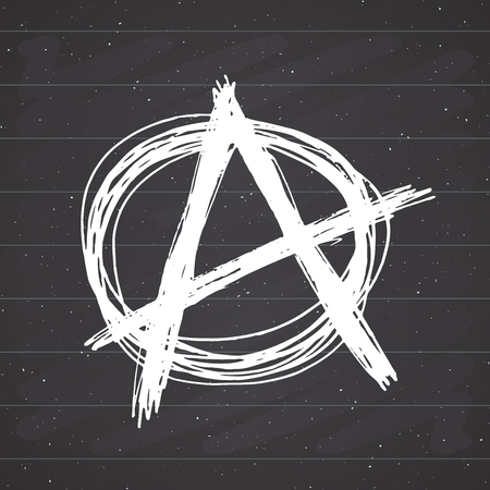 Anarchy sign hand drawn sketch. Textured grunge punk symbol. vector illustration on chalkboard background