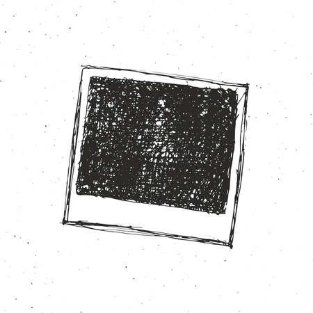 photo album: Retro photo frame hand drawn sketch template design. vector illustration.