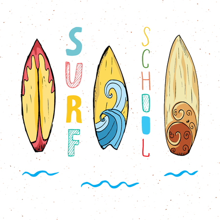 Surf boards hand drawn sketch t-shirt print design, surfing school typography, Summer vintage retro badge template, vector illustration. Ilustracja