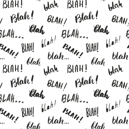 Blah, blah words hand written seamless pattern vector illustration background.
