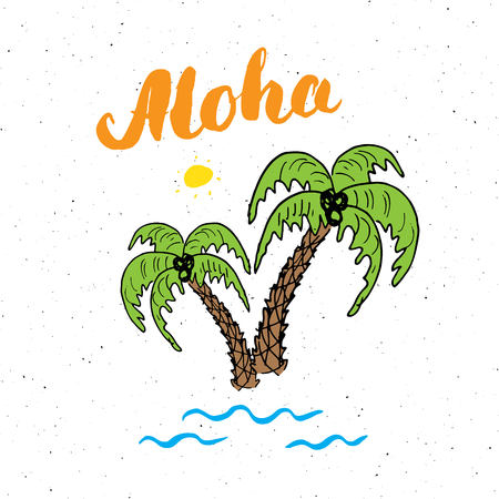 Lettering word aloha with Hand drawn Sketch palm trees typographic design sign, Vector Illustration