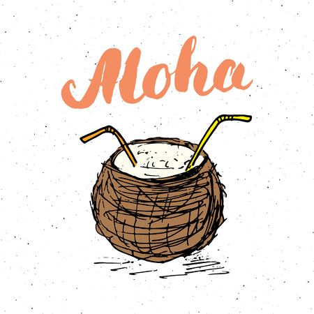 Lettering word aloha with Hand drawn Sketch coconut typographic design sign, Vector Illustration.