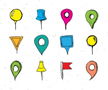 Map pointers hand drawn sketch set, navigation pins doodle vector illstration isolated on white background.