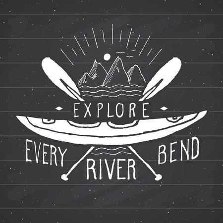 Kayak and canoe vintage label, Hand drawn sketch, grunge textured retro badge, typography design t-shirt print, vector illustration on chalkboard background.