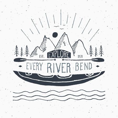 Kayak and canoe vintage label, Hand drawn sketch, grunge textured retro badge, typography design t-shirt print, vector illustration.