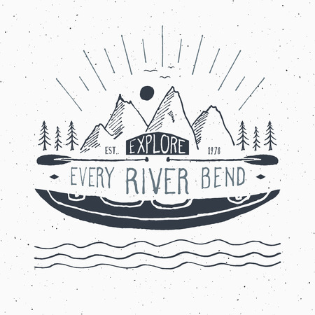 Kayak and canoe vintage label, Hand drawn sketch, grunge textured retro badge, typography design t-shirt print, vector illustration.