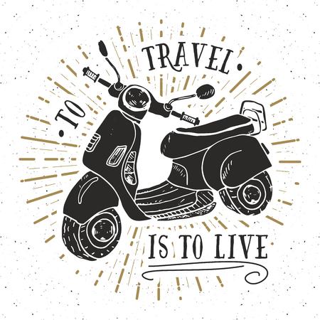 Scooter motorbike Vintage label, Hand drawn sketch, grunge textured retro badge, typography design t-shirt print, vector illustration. Illustration