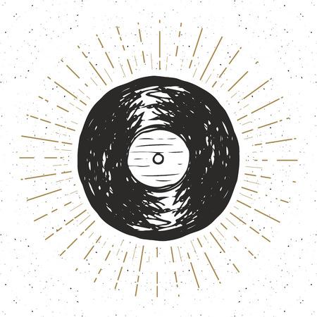 Vinyl record vintage label, Hand drawn sketch, grunge textured retro badge, typography design t-shirt print, vector illustration .