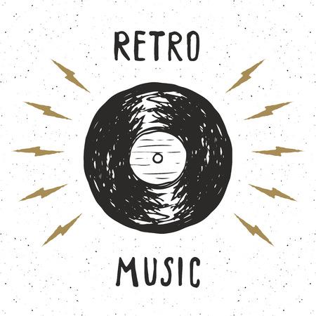 Vinylverslag uitstekend etiket, Hand getrokken schets, grunge geweven retro kenteken, de t-shirtdruk van het typografieontwerp, vectorillustratie. Stock Illustratie