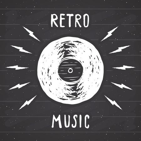Vinyl record vintage label, Hand getrokken schets, grunge getextureerde retro badge, typografie ontwerp t-shirt afdrukken, vectorillustratie op schoolbord achtergrond.