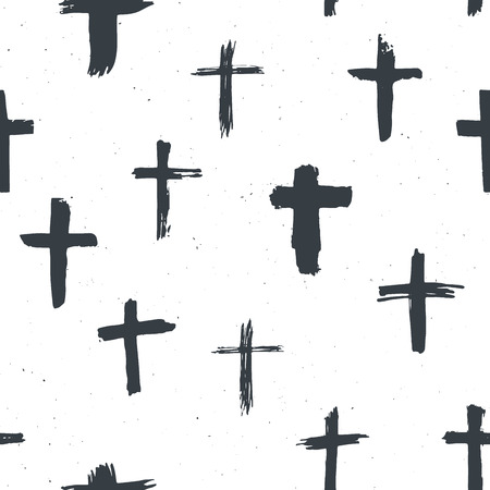 Cross symbols seamless pattern grunge hand drawn Christian crosses, religious signs icons, crucifix symbol vector illustration . Illustration