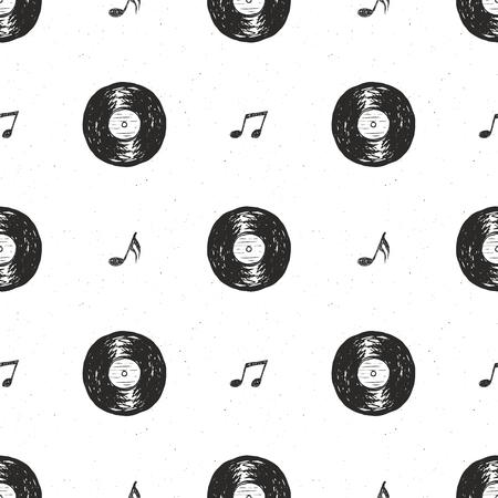 Vinyl het verslagschets van de verslag uitstekende naadloze patroonhand getrokken, grunge geweven retro kenteken, de t-shirtdruk van het typografieontwerp, vectorillustratie. Stock Illustratie