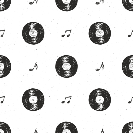 Vinyl record vintage seamless pattern hand drawn label sketch, grunge textured retro badge, typography design t-shirt print, vector illustration .
