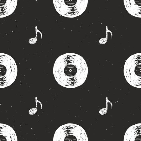 Vinyl record vintage seamless pattern hand drawn label sketch, grunge textured retro badge, typography design t-shirt print, vector illustration .