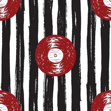 Vinyl record vintage seamless pattern hand drawn label sketch, grunge textured retro badge, typography design t-shirt print, striped vector illustration .