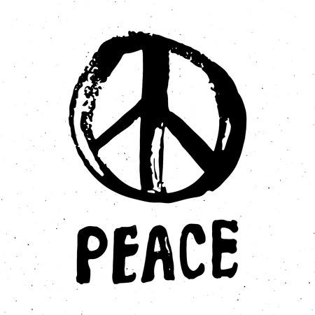 Peace Symbol Hand Drawn Grunge Hippie Or Pacifist Sign Vector