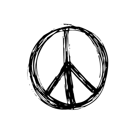 pacifist: Peace symbol, hand drawn grunge Hippie or pacifist sign, vector illustration isolated on white background . Illustration
