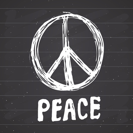 Peace symbol, hand drawn grunge Hippie or pacifist sign, vector illustration isolated on white background . Illustration