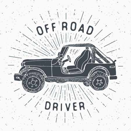 Offroad SUV car vintage label