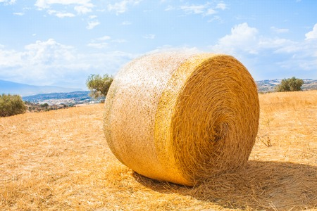 Italy Landscape View with Clouds on Blue sky, Italian Fields with Hay Bales. Stock Photo